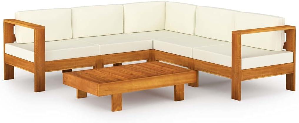 vidaXL Madera de Acacia Muebles de Jardín 6 Piezas Cojines Mobiliario Hogar Terraza Patio Exterior Cocina Silla Mesa Asiento Suave Blanco Crema