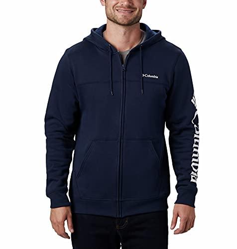 Columbia Modèle Sweatshirt en Polaire Entièrement Zippé avec Logo Homme, Bleu (Collegiate Navy), Blanc (White), Large