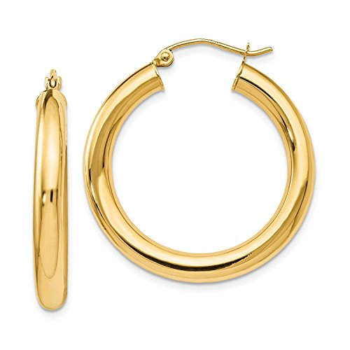 14 Karat 585 Gold Hochglanz Creolen Ohrringe Gelbgold - Breite 4 mm - Große Wählbar (30 Millimeter)