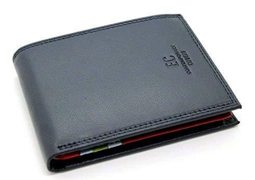 Portafoglio in pelle uomo EC Contemporary Enrico Coveri con portamonete porta carte e ribaltina Mod.: 826 (Blu)