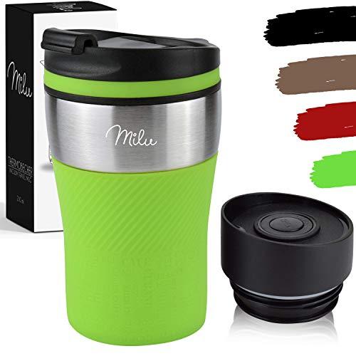 Milu Thermobecher Isolierbecher Kaffeebecher to go - 210ml 100% Auslaufsicher - Trinkbecher aus Edelstahl - Autobecher doppelwand Isolierung - Thermo Becher - Travel Mug (Grün)