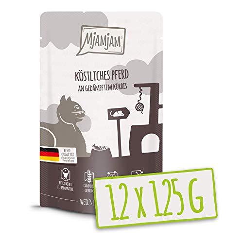 MjAMjAM - Premium Nassfutter für Katzen - Quetschie - köstliches Pferd an gedämpftem Kürbis, 12er Pack (12 x 125 g), getreidefrei mit extra viel Fleisch