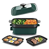 AEWHALE Electric Grill 4 IN 1 Indoor Grill Electric Grill Smokeless Grill, Party Griddle for Cooking Meats Seafood Steak Pancake Cheese, Green…