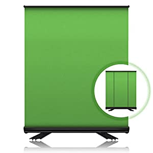 ZUOCHEN Green Screen Backdrop 5x6.6FT Portable Collapsible Chromakey Background Panel with Solid Aluminium Shell, Pull Up Wrinkle-Resistant Fabric for Twitch Streaming, Youtube Videos, Live Game, Photo Studio