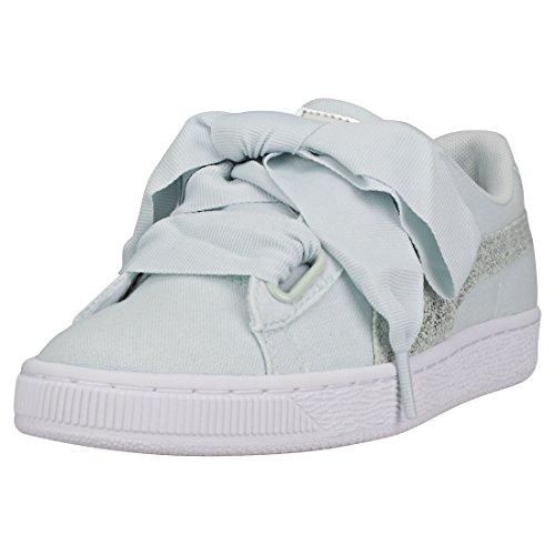 Puma Basket Heart Canvas Wn's Sneakers Celeste Bianco Silver 366495-03 - 37, Celeste