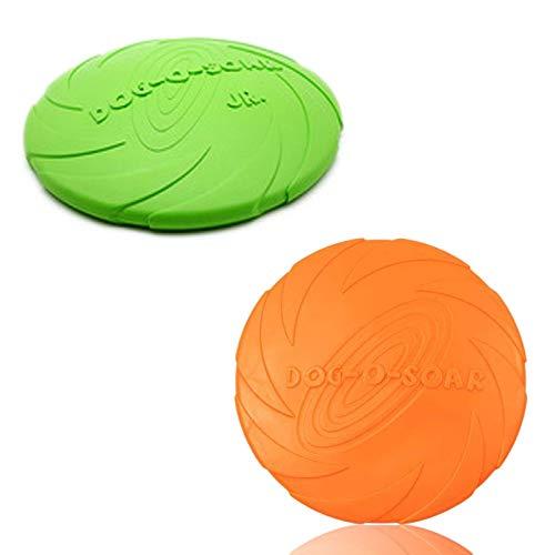 2 Pz Frisbee para Perros Disco Volador para Perro Frisbee para Mascotas de Goma Juguete del Disco Volador para Adiestramiento de Perros Juguetes de Tiro Captura y Jueg Verde Naranja ø 15 cm