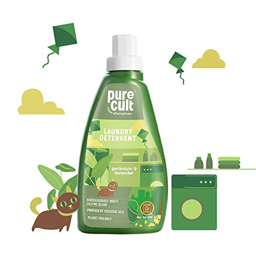 PureCult Liquid Laundry Detergent with Geranium & Lavender Essential Oil -Eco Friendly and Biodegradable-Kids and Pet Friendly –...