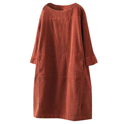 YBWZH Shirtkleid Damen Rundhalsausschnitt Sweatkleider Große Größen Locker Tunikakleid Jumper Einfarbig Basic Blusenkleider WeinleseTaschen Cord Normallack Beiläufige Kleidung