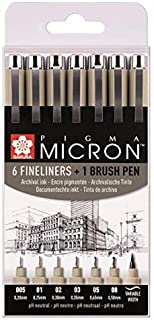 Sakura Pigma Micron 6 fineliners + 1 brushpen