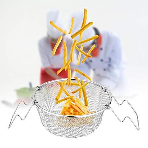 Cesta de acero inoxidable para aperitivos, cesta portátil frita con asa, patatas fritas redondas, alas de pollo, cesta frita, utensilio de cocina, colador, 22 cm