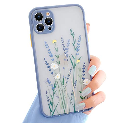 Ownest Compatible with iPhone 12 Mini Case 5.4 Inch for Clear Flowers Pattern Frosted PC Back 3D Floral Girls Woman and Soft TPU Bumper Protective Silicone Slim Case for iPhone 12 Mini-Purple