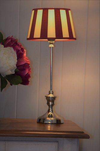 klassische Kaminleuchte/Simsleuchte/Tischlampe DORSET, rund* Nickel hochgänzend mit Chintzschirm *rund* (creme/bordeaux) im royalen Balkendesign 20cm, Höhe mit Schirm 465mm