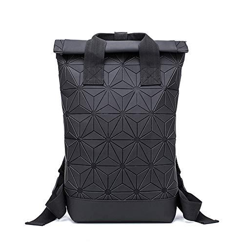 Geometrische Lingge Rucksack Erweiterbar Große Kapazität Leuchtende Reflektierende Reise Daypack Fashion School Rucksack-black
