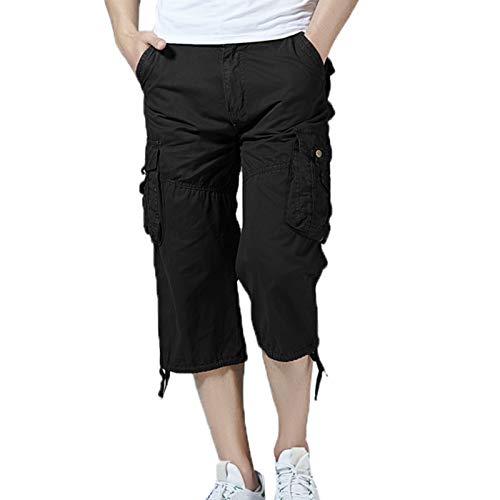 WSLCN Hommes Baggy Shorts Cotte Vintage Coton Shorts Décontracté Eté Outdoor Shorts de Plage Multi-Poche B FR 40 (Asie 32)