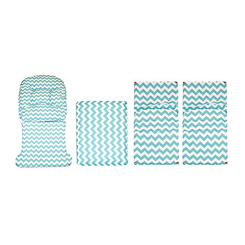 Storkcraft Hoop Glider and Ottoman Replacement Cushion Set– Stylish Cushion Replacement Set for Glider and Ottoman, 5 Pieces, Padded Arm Rests, Durable and Spot Cleanable (Turquoise Chevron)