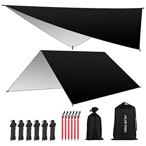 KUSTAR Hammock Rain Fly Tent Tarp, Large Waterproof Camping Tarp Shelter UV...