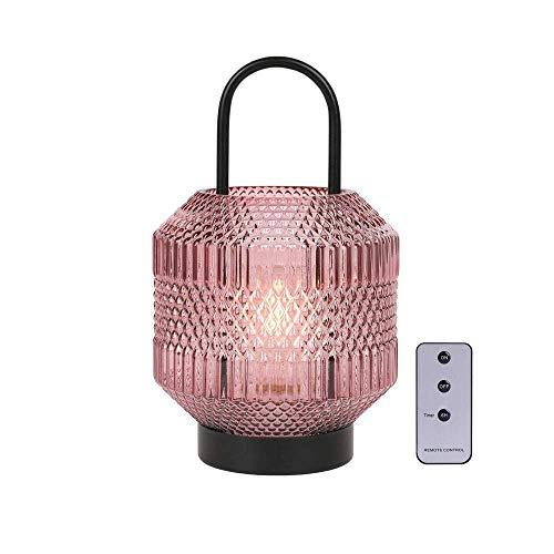 JHY DESIGN Lámpara de mesa con pilas de 27cm High Lámpara inalámbrica Lámparas con pilas Linterna LED Funciona con pilas con temporizador de 6 horas Control remoto para decoración del hogar