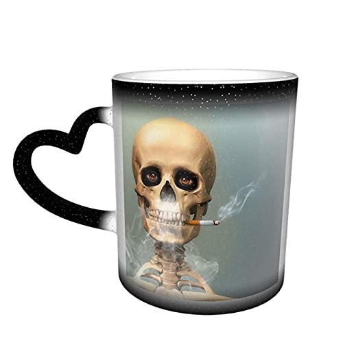 maichengxuan Lustige Tasse mit Skelett und Zigarette, Kaffeetasse, lustige Farbwechsel, Reisebecher, Keramik, wärmeempfindliche Tasse