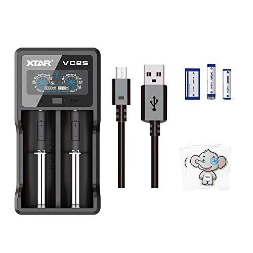 XTAR Cargador VC2S Inteligente, Pantalla LCD Cargador de Batería Universal Rápido, Tenga recuperación de baterias dañadas y para Baterías Recargables NI-MH NI-CD A AA AAA SC, Li-Ion 18650 26650 …