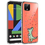 Unov Pixel 4 Case Clear with Design Soft TPU Shock Absorption Slim Embossed Pattern Protective Back Cover for Pixel 4 (5.7 inch) (Rainbow Dinosaur)