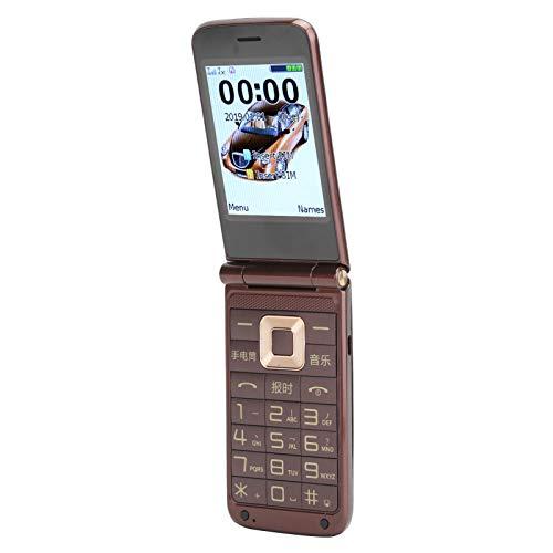 Teléfono con Tapa de 2,6 Pulgadas, teléfono móvil Retro, teléfono móvil con Doble Modo de Espera, teléfono móvil para Personas Mayores, MP3, 32 + 32 MB, Regalos para Padres(marrón)