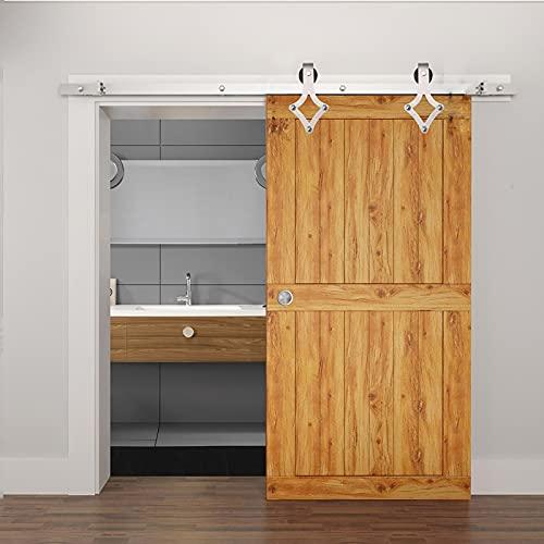 Herraje para Puerta Corredera Kit Kit de herrajes para puertas corredizas de granero 150-400cm, riel para colgar profesional de puerta push-pull, riel de polea silenciosa de rombo cepillado de acero i