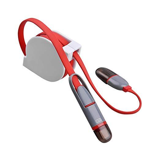 Cable de carga y sincronización de datos Telescópica 2 en 1 para teléfono móvil, cable de carga para Android iOS compatible con la mayoría de los teléfonos inteligentes, conexión de cargador de coche, rojo