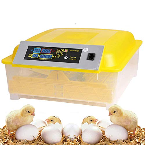 OppsDecor Egg Incubator, 48 Eggs Digital Incubator with Fully Automatic Egg Turning and Humidity Control 80W Clear Hatching for Chicken Duck Eggs (Yellow)