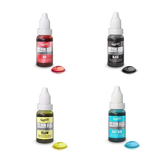 RAINBOW DUST PACK ECONÓMICO COLOR FLO - 4 X Colorantes líquido alimentario muy concentrado adecuado para utilizar con aerógrafo o en mezclas de azúcar, cremas, pasteles (Azul, negro, rojo y am