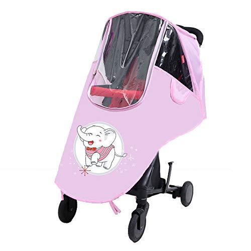 LITIAN Poussette Universel Pare-Brise Landau Raincoat Landau Rain Cover bébé Parapluie Pare-Brise Chaud Couverture Pink