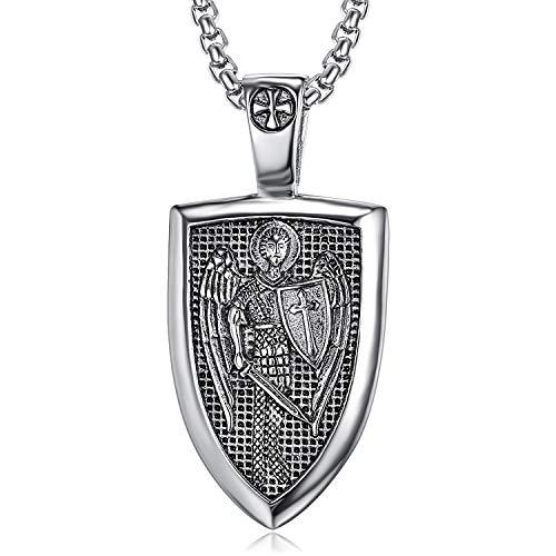 San Miguel Collar De Acero Inoxidable Colgante De Protección De Arcángel Guradian Angel Wing Patron Catholic Saint Medallion 60Cm