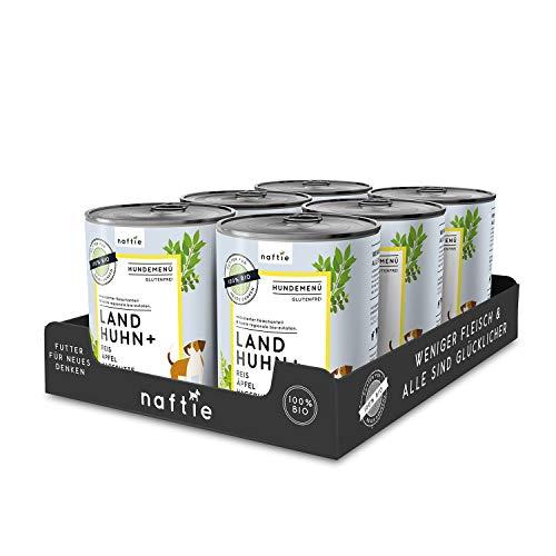 naftie Bio Hundefutter Land Huhn+ | Premium Nassfutter Menü mit Huhn, Reis, Äpfel und Hagebutten | Glutenfrei | Sparpaket 6 x 800 g Dosen