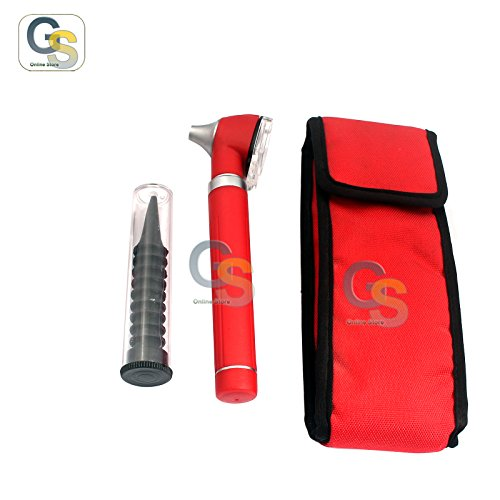 G.S NEW PROFESSIONAL MINI FIBER OPTIC OTOSCOPE RED (POCKET SIZE) ENT DIAGNOSTIC SET + 1 FREE EXTRA REPLACEMENT BULB BEST QUALITY