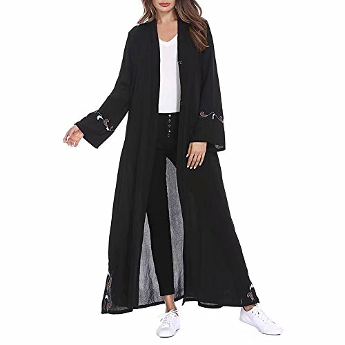 Doulehero Damen Elegante Muslimische Kleider Cardigan,Herbst Langarm Unifarbe Roben Kaftan Stickerei Länge Maxi Kleid Islamischen Arabischen Kaftan Morgenmantel mit Gürtel