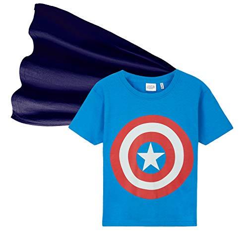 Marvel T-Shirt Jungen, Avengers T Shirt für Kinder und Jugendliche, Cool T Shirt Jungs mit Kap 4-14, Geschenke für Kinder (Blau, 4-5 Jahre)