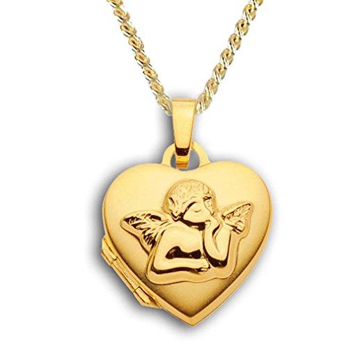 Herz Medaillon verziert Hochglanz 333 Gold Muttertag Valentinstag Verlobung Liebe Schmuck Amulett Engel-Verzierung mit Kette 42 cm 333 Gold. Von Haus der Herzen®