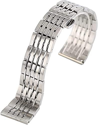 chenghuax Correa de reloj, correa de acero inoxidable, correa de plata de 20 mm, 22 mm, 24 mm, pulsera sólida (color: -, tamaño: 24 mm)