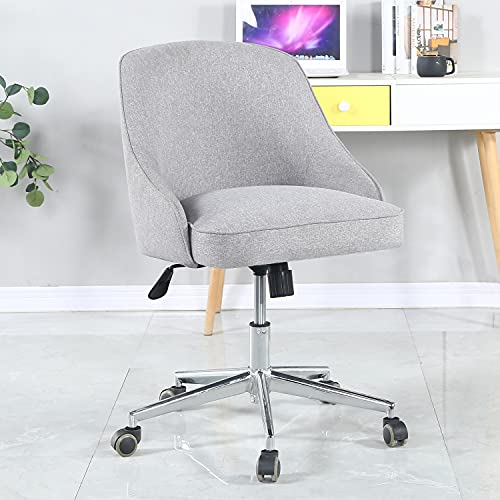 Home Office Chair Desk Chair Modern Simple Computer Chair Fabric Upholstery Ergonomic Office Chair Height Adjustable 360° Swivel Chair for Home Office Bedroom Living Room Grey