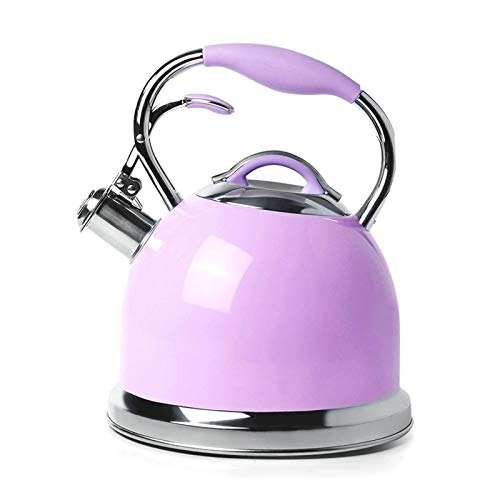 2.6 L Whistling Tea Kettle - Stainless Steel Stove Tea Pot with Ergonomic Handle (Color : Purple, Size : 2.6L)