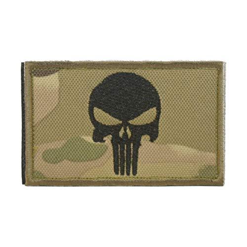 Cobra Tactical Solutions Punisher Skull Parche Bordado Táctico Militar Cinta de Gancho y Lazo de Airsoft Cosplay Para Ropa de Mochila Táctica (Camouflage)