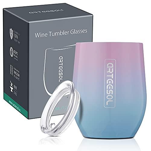 arteesol Stainless Steel Wine Glass, Reusable Coffee Cups with Lids Durable Coffee Mug,...