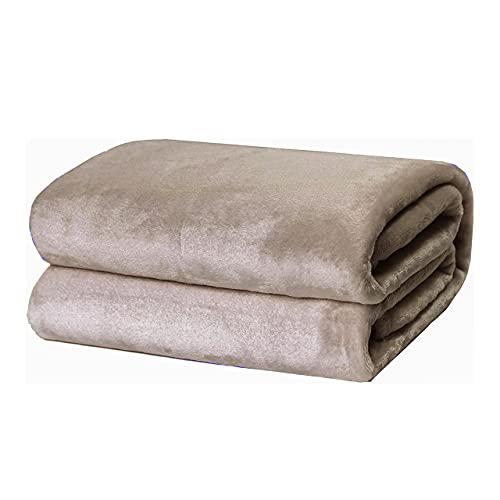 Mantas para Sofás de Franela 130x160cm Microfibre Extra Suave - Mantas para Cama de 90cm 100% Poliéster Suave y Cómodo - Taupe