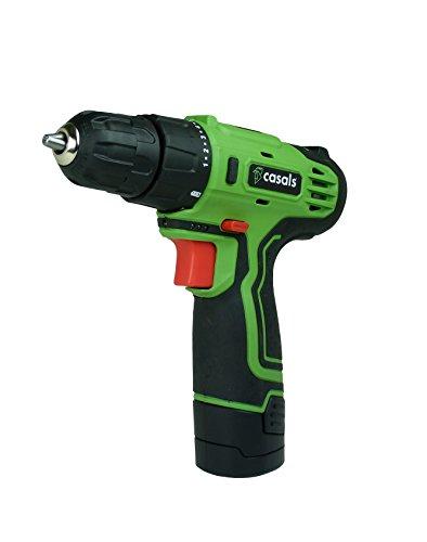 Casals VDLI12 - Taladro atornillador con batería de litio de 12 V (1,3 A-h, 750 rpm, 17 N-m) color verde y negro