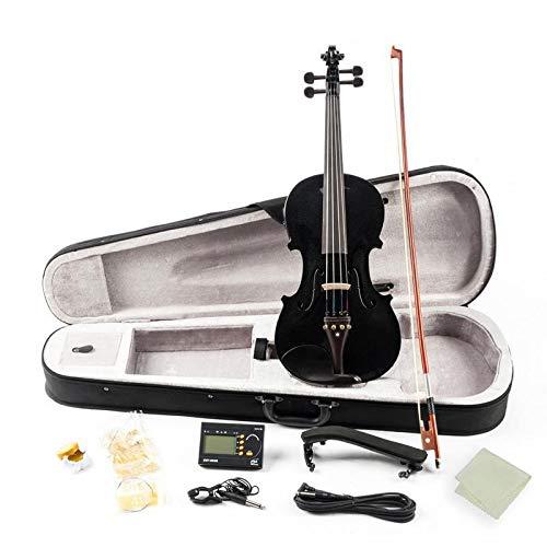 YUXIwang Violine Matte / Schwarz 4/4 Vollgröße Massivholz Akustische EQ Elektrische Violine Geige Kit mit Bow Hard Case Schulterstütze Tuner Kabel Kolophonium Instrumente ( Color : Black )