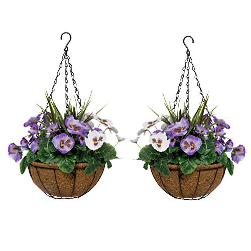 GreenBrokers Purple & White 2x Artificial Coco Coir Hanging Baskets Pansies and Decorative Grasses...
