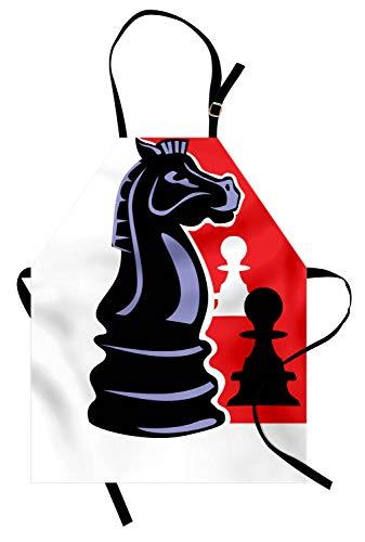 ABAKUHAUS Bordspel Keukenschort, Chess Pawn en Knight, Unisex Keukenschort met Verstelbare Nekband voor Koken en Tuinieren, Charcoal Grey Multicolor