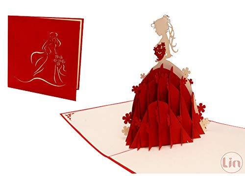 LIN17339, POP UP Kaarten, 3D kaarten verjaardag meisjes, wenskaart prinses, verjaardagskaarten, wenskaart bruiloft, bruidsjurk, prinses N225