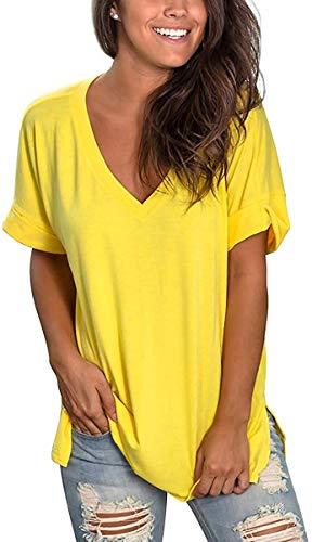 heekpek Blusas de Moda Verano Mujer Blusas y Camisas de Mujer Ropa Mujer Verano Tops Mujer Camisas OversizedColor Sólido V Neck Negro Blanco Camisa Manga Corta Plus Size