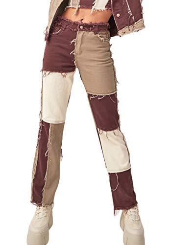 Jeanshose, für Damen, schwarz, Taschen an der hohen Taille, Patchwork, gerader Schnitt, Denim Gr. S, B-d