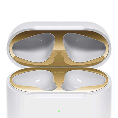 elago AirPods 2 Dust Guard (Gold, 1 Set) Dust-Proof Metal Cover, Luxurious Finish, Must Watch Installation Video - Compatible with Apple AirPods 2 Wireless Charging Case[US Patent Registered]